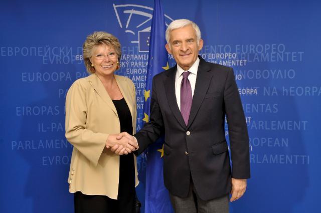 Meeting between Viviane Reding, Vice-President of the EC, and Jerzy Buzek, President of the EP