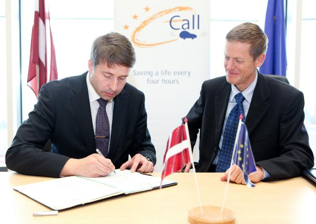 Signature of the EU's Memorandum of Understanding to implement eCall across Europe, by Uldis Augulis, Latvian Minister for Transport