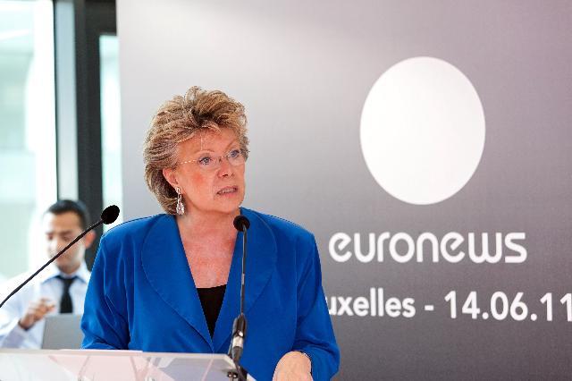 Participation de Viviane Reding, vice-présidente de la CE, à l'inauguration du bureau à Bruxelles d'Euronews