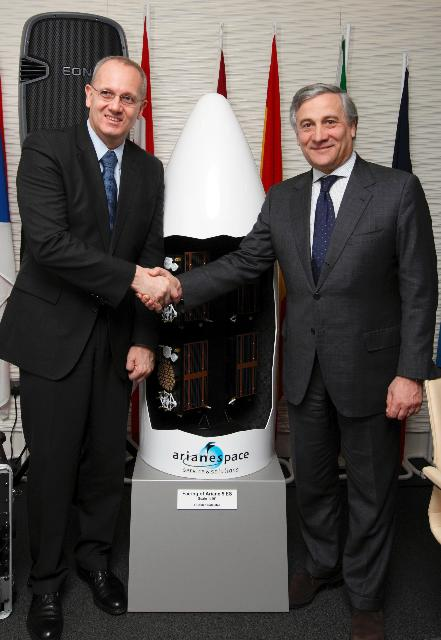 Visit of Antonio Tajani, Vice-President of the EC, to the United Kingdom as part of the signature of further contracts for satellites and launchers, among them: Galileo