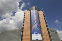 The Berlaymont building with the banner
