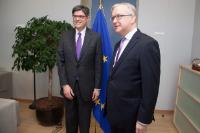 Visite de Jack Lew, secrétaire américain au Trésor, à la CE