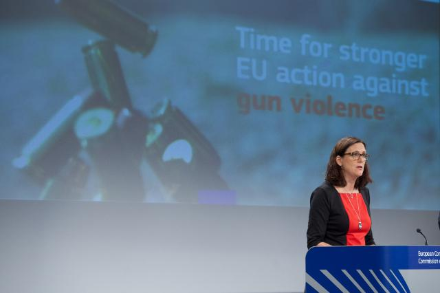 Press conference by Cecilia Malmström, Member of the EC, on the communication containing suggestions on how to reduce gun violence in Europe, and the results of a Eurobarometer survey on the subject
