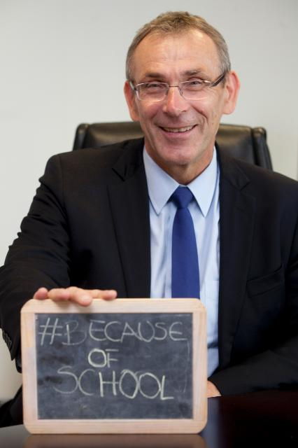 Andris Piebalgs, Member of the EC, supporting the Education for All campaign #BecauseOfSchool