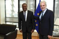 "Illustration of ""Visit of Denis Mukwege, Founder and Medical Director of the Panzi Hospital in Bukavu, and 2014 Sakharov..."