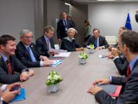 Round table between Martin Selmayr, Head of cabinet of Jean-Claude Juncker, 1st from the left, Jean-Claude Juncker, 2nd from the left, Christine Lagarde, Managing Director of the International Monetary Fund (IMF), 4th from the left, and Mario Draghi, President of the European Central Bank (ECB), 5th from the left