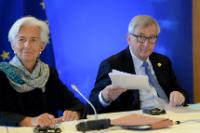 Christine Lagarde, Managing Director of the International Monetary Fund (IMF), on the left, and Jean-Claude Juncker