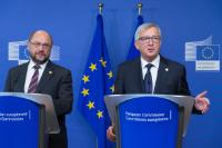 Joint press conference by Jean-Claude Juncker, President of the EC, and Martin Schulz, President of the EP, ahead of the informal meeting of the Heads of State or Government of the EU