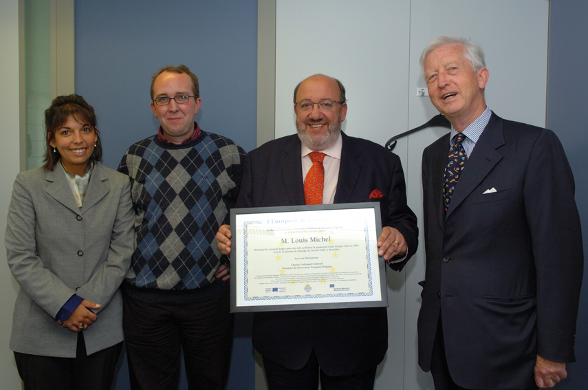 Presentation of the European of the Year 2005 prize to Louis Michel, Member of the EC