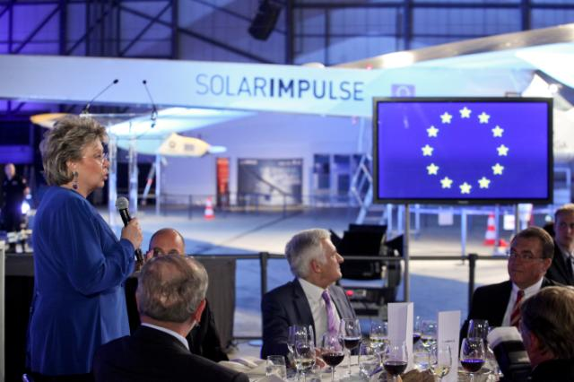 Presentation of the Solar Impulse at Brussels Zaventem Airport: first international flight of solar powered plane