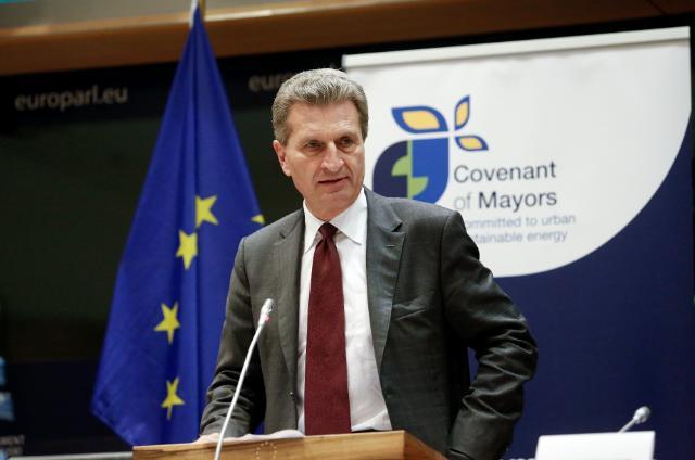 Participation de José Manuel Barroso, président de la CE, à la cérémonie de la Convention des maires