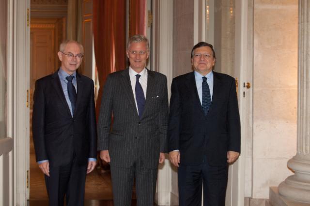 Meeting between Philippe, King of the Belgians, Herman van Rompuy, President of the European Council, and José Manuel Barroso, President of the EC