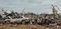 Damaged cars after the tornado in Moore, Oklahoma