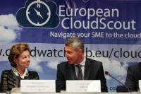 "Illustration of ""Participation de Neelie Kroes, vice-présidente de la CE, au lancement du 'EU Cloud Scout'"""