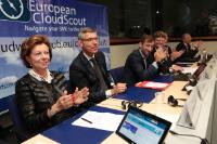 "Illustration of ""Participation of Neelie Kroes, Vice-President of the EC, in the launch of EU Cloud Scout"""