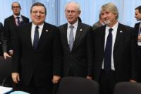 Giuliano Poletti, Herman van Rompuy and José Manuel Barroso (in the foreground, from right to left)