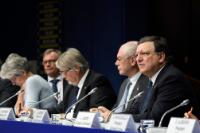 Bernadette Ségol, General Secretary of the European Trade Union Confederation (ETUC), Hans-Joachim Reck, President of the European Centre of Employers and Enterprises providing Public services (CEEP), behind, Giuliano Poletti, Herman van Rompuy and José Manuel Barroso (from left to right)