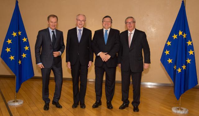 Visite d'Herman van Rompuy, président du Conseil européen, Donald Tusk, président désigné du Conseil européen, et Jean-Claude Juncker, président élu de la CE, à la CE