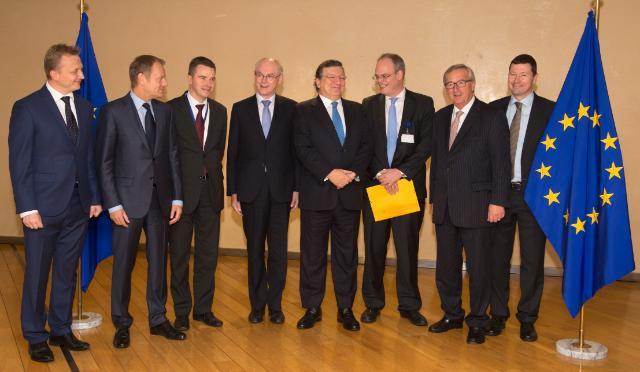 Visit of Herman van Rompuy, President of the European Council, Donald Tusk, President Designate of the European Council, and Jean-Claude Juncker, President-elect of the EC, to the EC