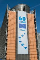 Banners on the European Commission building (Berlaymont)