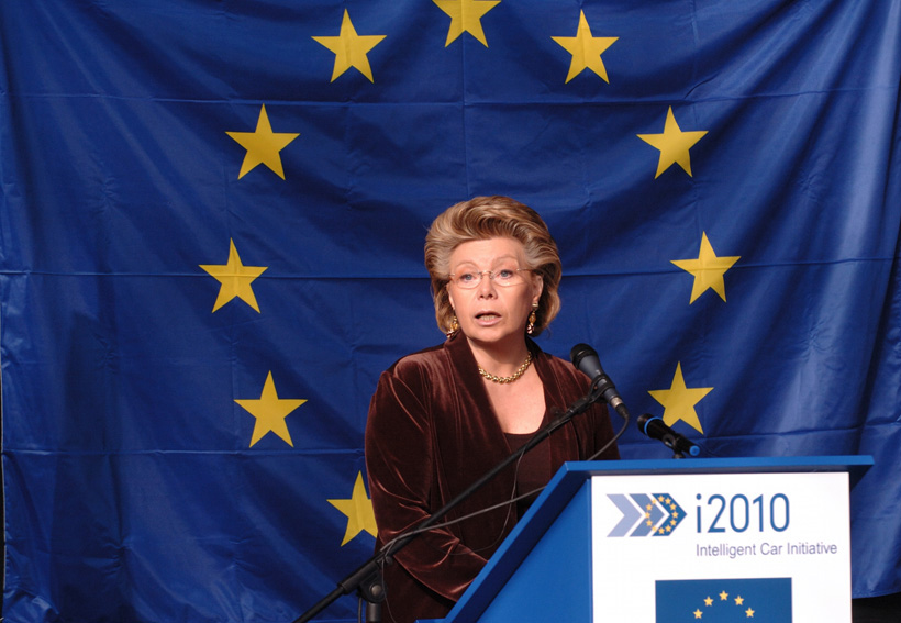 Viviane Reding, Member of the EC, at the launch of the Commission's intelligent car initiative