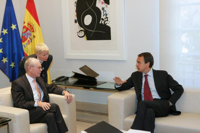 Meeting between José Manuel Barroso, President of the EC, Herman van Rompuy, President of the European Council, and José Luis Rodríguez Zapatero, Spanish Prime Minister