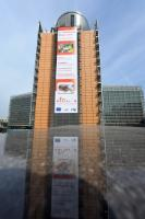 The Berlaymont building with the poster on the European Veterinary Week: Traceability, from farm to fork