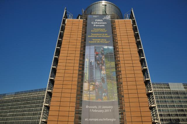 The Berlaymont building with the poster of the 5th Forum on the Cohesion Fund