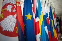 The Serbian flag among EU member countries flags at the offices of the Delegation of the EU in Serbia