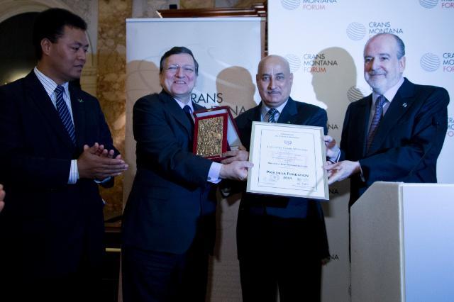 Giving of the 'Prix de la Fondation' 2014 of the Crans Montana Foundation to José Manuel Barroso, President of the EC