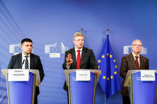 Joint press conference by Štefan Füle, Member of the EC, Ramón Luis Valcárcel Siso, President of the CoR, and Volodymyr Hroisman, Ukrainian Vice-Prime Minister, to the EC