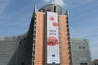 The Berlaymont building with the banner commemorating the centenary of World War I