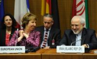Mohammed Javad Zarif, James Morrison, Head of cabinet of Catherine Ashton, and Catherine Ashton (from right to left)
