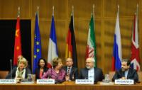 Seyyed Abbas Araghchi, Iranian Deputy Minister for Foreign Affairs in charge of Legal and International Affairs, Mohammed Javad Zarif, Catherine Ashton and Helga Maria Schmid, Deputy Secretary General of the European External Action Service (EEAS) (in the foreground, from right to left)