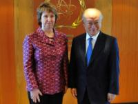 Yukiya Amano, on the right, and Catherine Ashton