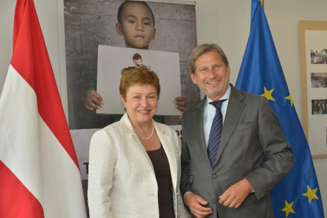 Participation de Kristalina Georgieva à la céremonie de signature de l'initiative autrichienne 'EU Children of Peace'