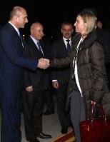 Handshake between Ali Sindi, Minister for Planning of the Kurdistan Regional Government (KRG), on the left, and Federica Mogherini, on the right, in the presence of Karim Sinjari, Minister for the Interior of the KRG, 2nd from the left, and Mustafa Sayid Qadir, Minister for Peshmarga Affairs of the KRG
