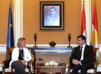 Discussion between Nechirvan Barzani, on the right, and Federica Mogherini