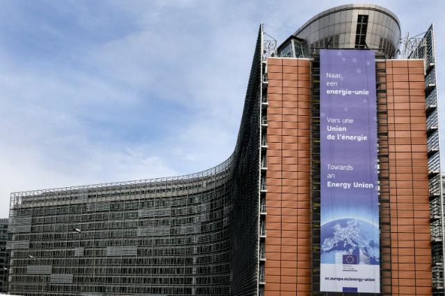 The banner on the Berlaymont building for the presentation of the EC's Energy Union Strategy