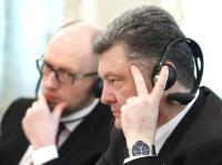 Petro Poroshenko, on the right, and Arseniy Yatsenyuk