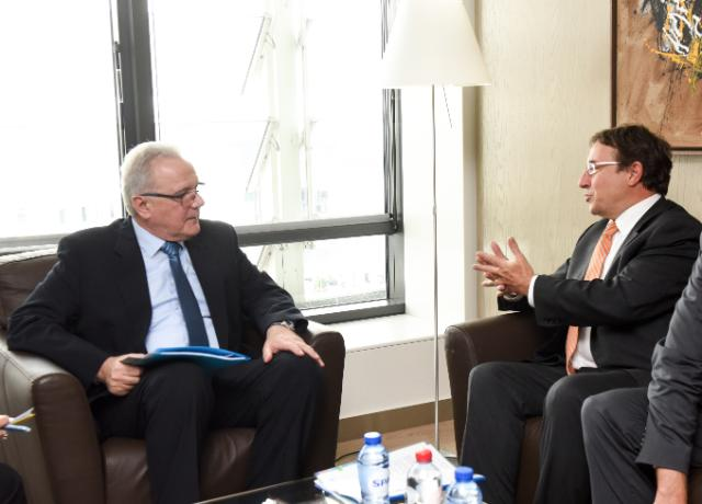 Neven Mimica receives Achim Steiner, Executive Director of the United Nations Environment Programme (UNEP)