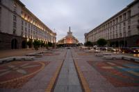 A general view of the main buildings of Sofia' s Largo: The Bulgarian Presidency, on the right, and Bulgarian Government building, on the left,  and the Administrative building of National Assembly