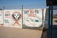 Pictures of the walls of the Khangezile Primary School about danger of AIDS and drugs