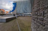 The Berlaymont Building and European Flags