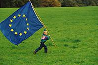 Children group with european flag