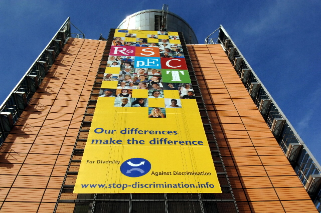 For Diversity. Against Discrimination EU information campaign on the Berlaymont building