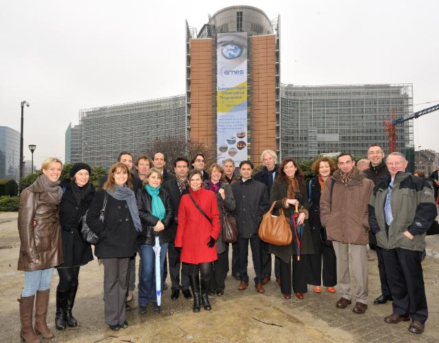 The Berlaymont Building with the poster of GMES (Global Monitoring for Environment and Security)