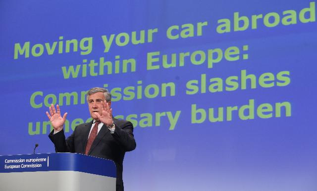 Press conference by Antonio Tajani, Vice-President of the EC, on the registration of motor vehicles previously registered in another Member State