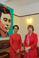 Daw Aung San Suu Kyi, on the left, and Catherine Ashton