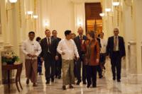 Catherine Ashton, in the foreground, on the right, Roland Kobia, Head of the Delegation of the EU to Myanmar/Burma, in the centre, behind, and Miguel Ceballos Baron, Member of cabinet of Catherine Ashton, 3rd from the left